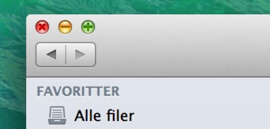 <strong><b>FØR:</strong></b> Slik så trafikklys-knappene ut i forrige OS X-utgave.  Foto: KIRSTI ØSTVANG