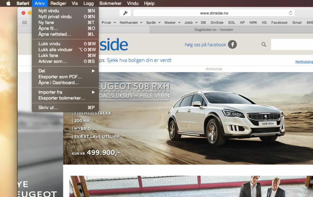 <b>LEI AV DET LYSE?</b> Slik ser det ut med mørkt tema på Mac-en. Merk at Safari fremdeles er lysegrå som før. Foto: KIRSTI ØSTVANG
