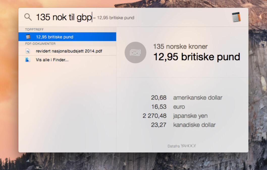 <b>HVOR MANGE PUND?</b> Spotlight kan også brukes til omregning av valuta.  Foto: KIRSTI ØSTVANG
