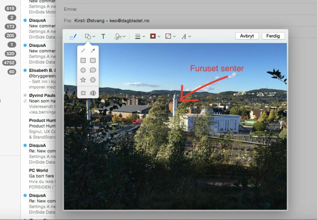 <strong><b>GJØR MERKNADER:</strong></b> Ønsker du å tydeliggjøre noe på et bilde du skal sende på epost, kommer dette verktøyet godt med.  Foto: KIRSTI ØSTVANG