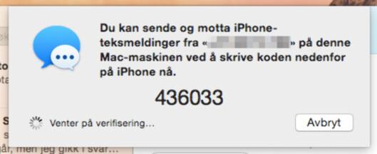 <strong><b>OPPSETT:</strong></b> Denne dialogboksen dukker opp i Meldinger-appen på Mac-en. Foto: KIRSTI ØSTVANG