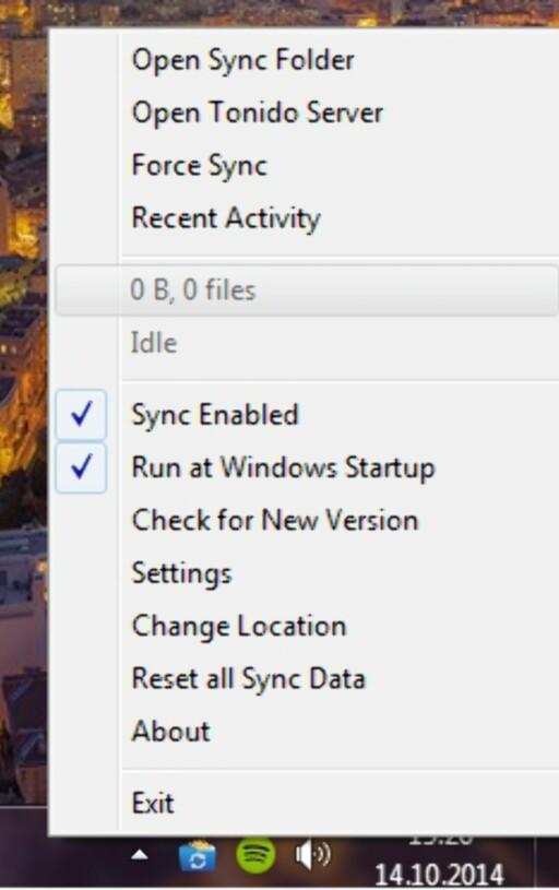DU FINNER DET MESTE HER: Når du har installert Tonido på en Windows-maskin, finner du det lille programmet nede ved klokka. Dette er innstillingene du har kjapp tilgang til. Legg merke til at du enkelt henter frem synkroniseringsmappen herfra. Foto: TROND BIE