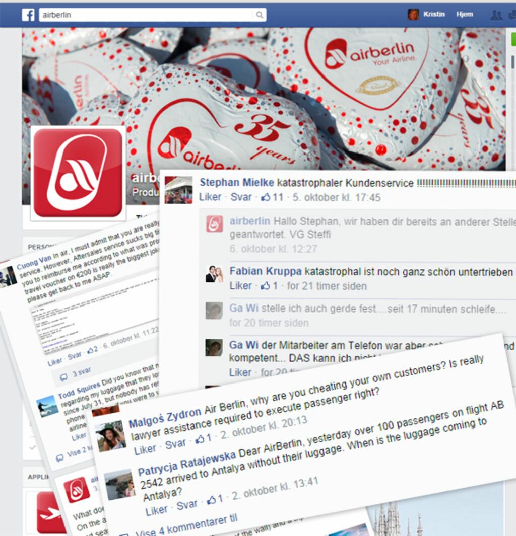 KLAGER PÅ FACEBOOK: Klager på kundeservice og penger som ikke kommer på konto, på Airberlins Facebookside. Foto: FACEBOOK