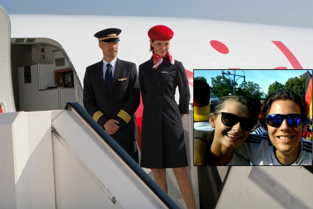 <b>BLE NEKTET OMBORDSTIGNING:</b> Flyreisen var bestilt nesten et år i forveien, og de sjekket inn uten problemer - men to av reisefølget på fem fikk ikke være med flyet på grunn av overbooking. Andreas Klose og Julie Garudholm ble plukket ut av flyselskapet ved gaten, uten spørsmål om de ønsket å vente på neste fly, eller tilbud om kompensasjon. Foto: AIRBERLIN/PRIVAT