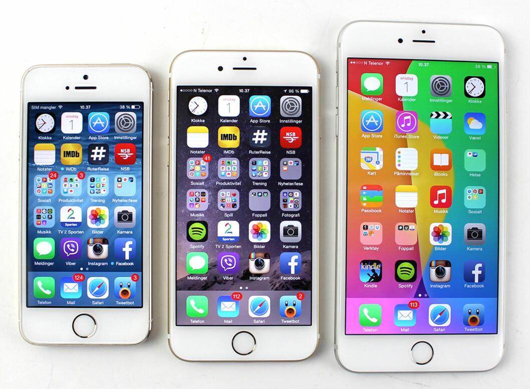 <strong><b>IPHONE-FAMILIEN:</strong></b> Nå i tre størrelser: iPhone 5S, iPhone 6 og iPhone 6 Plus.  Foto: KIRSTI ØSTVANG