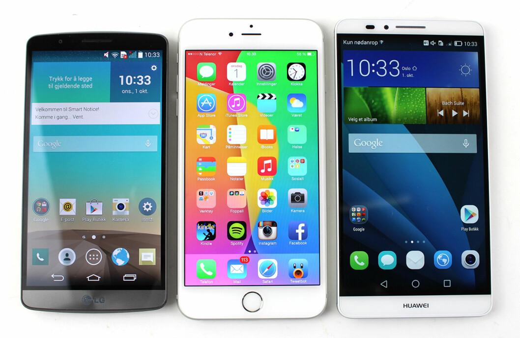 <strong><b>FORFRA:</strong></b> Slik ser LG G3, iPhone 6 Plus og Huawei Ascend Mate 7 ut på fremsiden. Det er tydelige forskjeller i hvor tykke rammer telefonene har. Foto: KIRSTI ØSTVANG