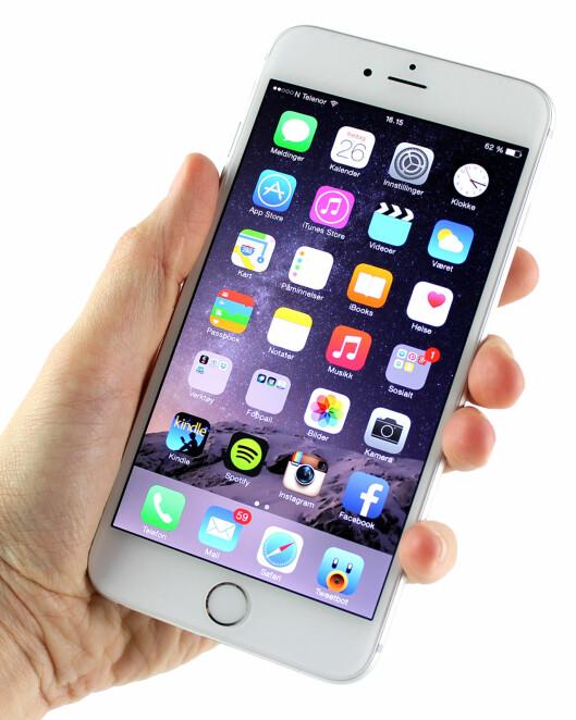 <strong><b>SER BRA UT:</strong></b> Skjermen til iPhone 6 Plus er skarp, har fine farger og god innsynsvinkel. Foto: KIRSTI ØSTVANG