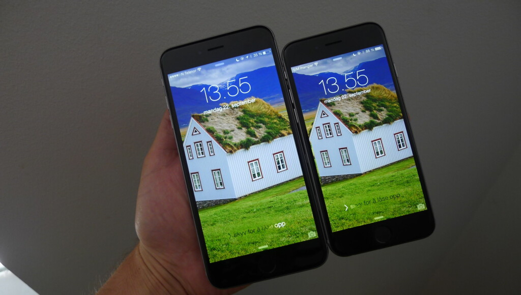 iPhone 6 Plus og iPhone 6: De kommer til Norge 26. september. Foto: TROND BIE