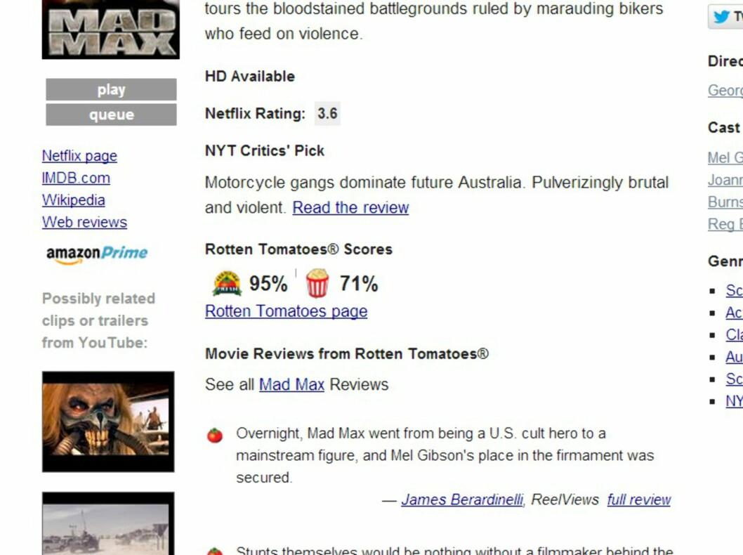 <strong><B>Instantwatcher:</strong></B> Gir deg full oversikt over det nyeste innholdet, og inkluderer også sitater fra anmeldelser og samlet poengsum fra Rotten Tomatoes. Foto: TROND BIE