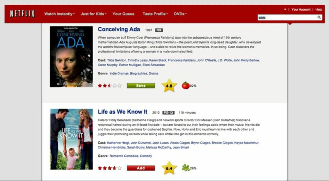 <b>IMDB på Netflix.com:</b> Du behøver ikke lenger surfe til IMDB.com for å finne karakteren på en film. Foto: JOSH BLUM