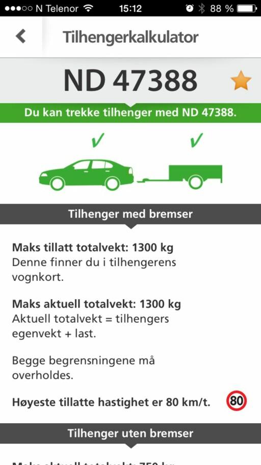 APP:Eksempel-skjermdump fra Bil og Henger-appen fra Statens Vegvesen. Foto: ØYVIND PAULSEN