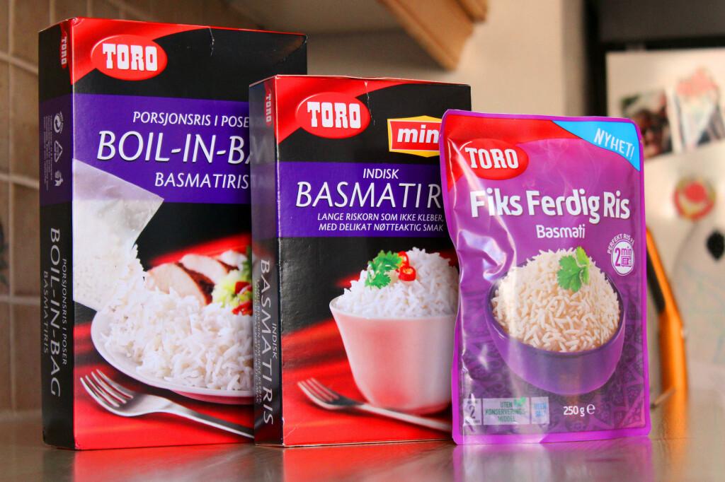 <b>LIKE, MEN ULIKE: </b>Toro Boil-in-bag, Ming-ris og Fiks Ferdig Ris fås alle som basmatiris. Men det er ikke bare tilbredningen som varierer.  Foto: OLE PETTER BAUGERØD STOKKE