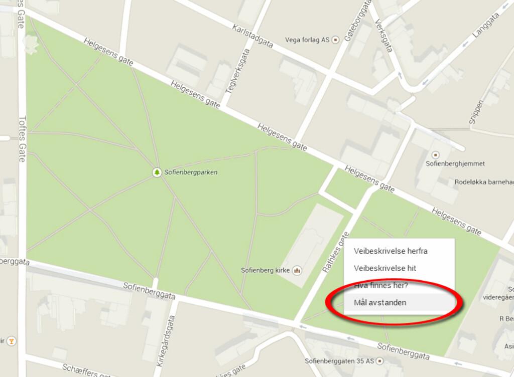 mål avstand i kart Kart: Mål avstanden på Google Maps   DinSide mål avstand i kart