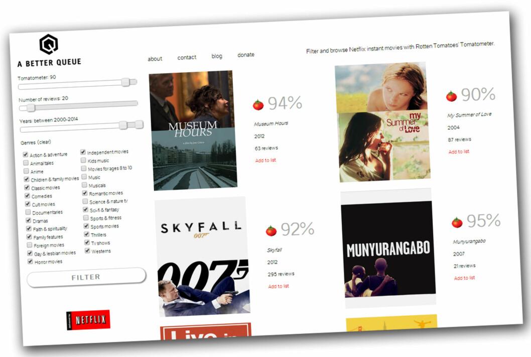 <b>ETTER DU HAR SØKT ... :</b> .. trykker du bare på filmcoveret for å åpne filmen i Netflix - eller du kan også legge den til i spillekøen din (velg <i>Add to list</i>). Foto: KIRSTI ØSTVANG