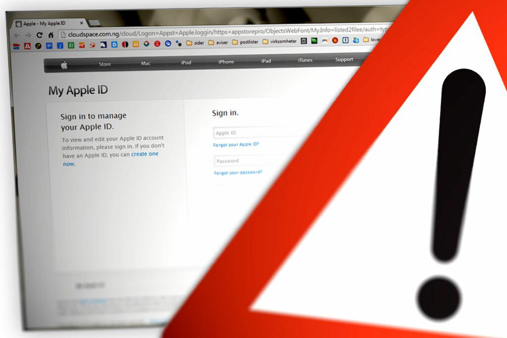<B>HOLD DEG UNNA: </B>De falske e-postene fra Apple forsøker å lure ofrene inn på slike sider, hvor brukernavn og passord fiskes fra ofrene. Derav begrepet «phishing». Men blant annet nettadressen avslører dem.  Foto: OLE PETTER BAUGERØD STOKKE