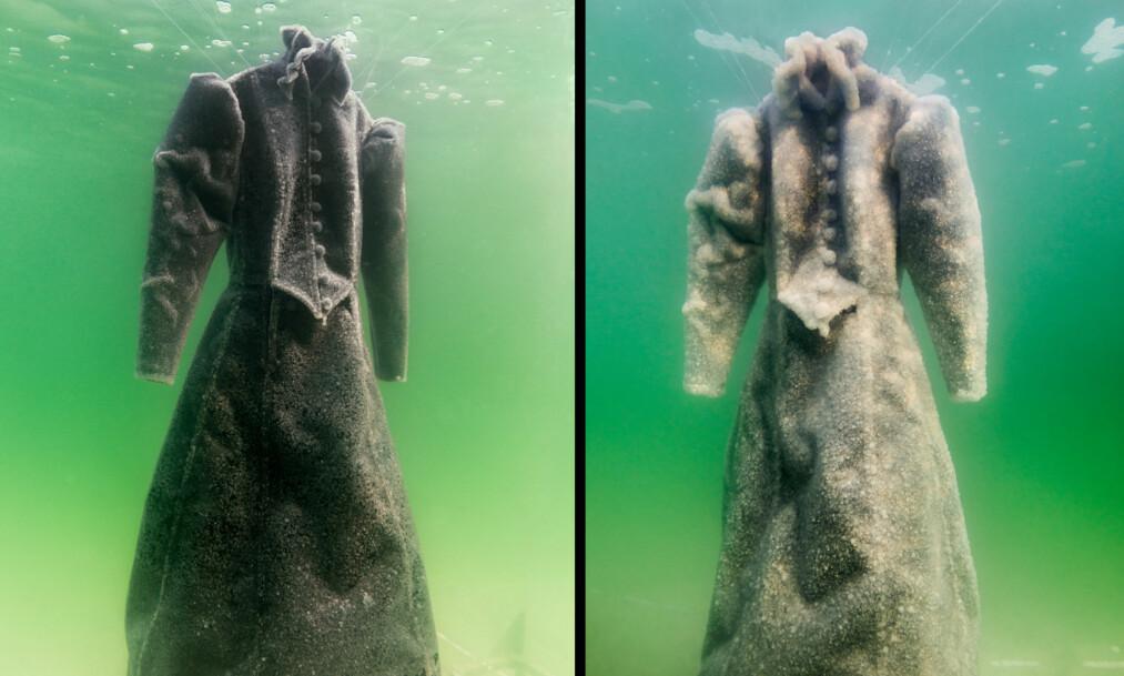 <strong>SALT:</strong> Kjolen ble senket i Dødehavet og ble værende i to måneder. Mot slutten av det som er et kunstprosjekt, hadde kjolen skiftet farge fra svart til hvit. Det hvite er salt. Foto: Wenn / NTB Scanpix&nbsp;