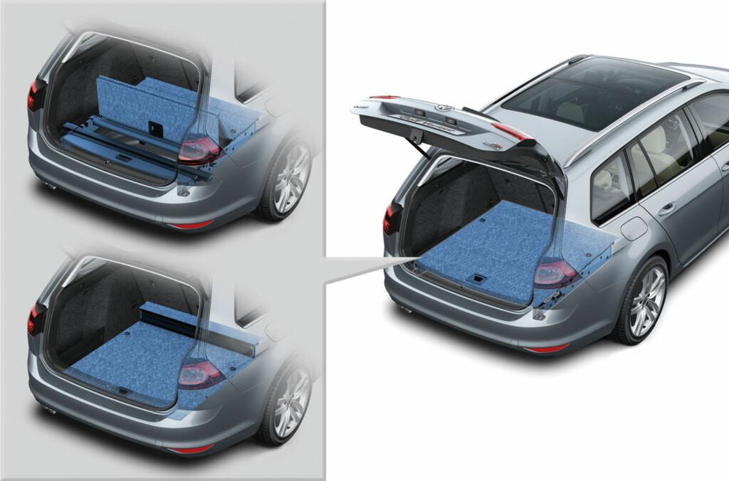 <b>FLEKSIBELT:</b> Bagasjerommet måles som regel med alle ledige kriker og kroker der det er mulig å plassere en av VDA-normens kuber, inklusive den tidligere reservehjulsbrønnen. Illustrasjon: VW