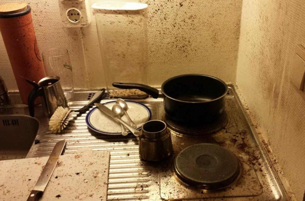 <b>EKSPLODERTE:</b> Slik så det ut etter at espressokannen hadde eksplodert. Foto: PRIVAT