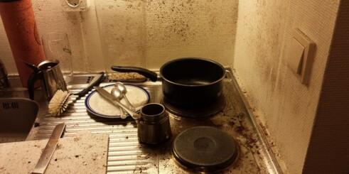 Slik så det ut etter at Gunnars espressokanne eksploderte