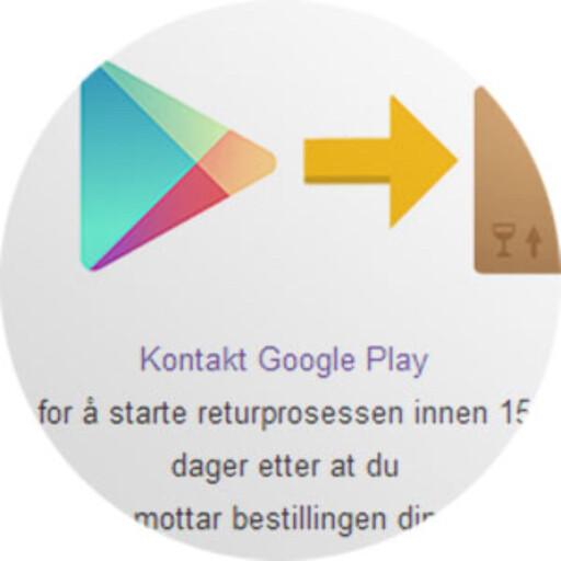 IKKE MYE INFO: Hvordan Google Play forholder seg til reklamasjon finner vi ikke spesielt mye informasjon om.  Foto: OLE PETTER BAUGERØD STOKKE