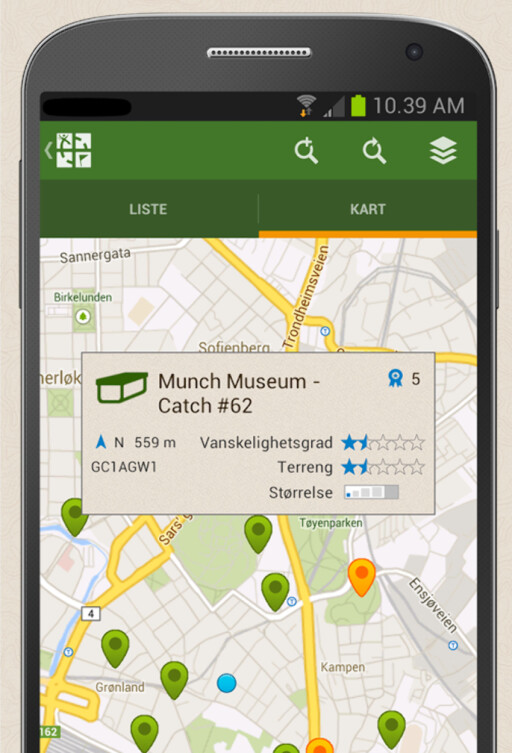 Geocaching-appen for Android.