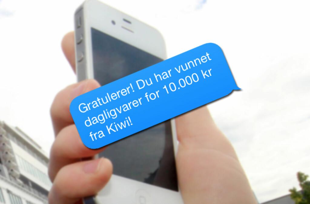 <b>SVINDEL:</b> Får du sms eller e-post fra Kiwi i disse dager, er det snakk om svindel. Foto: OLE PETTER BAUGERØD STOKKE/ILLUSTRASJON