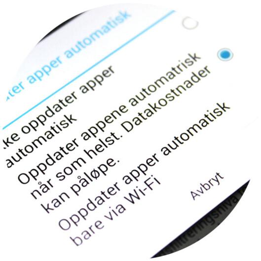 <strong><b>SLÅ AV:</strong> </b>Automatisk oppdatering av apper på mobilnett. Foto: OLE PETTER BAUGERØD STOKKE