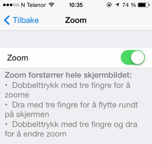<strong><b>FORSTØRRELSESGLASS:</strong></b> Med Zoom-innstillingen kan du få alt på skjermen til å bli større. Foto: KIRSTI ØSTVANG