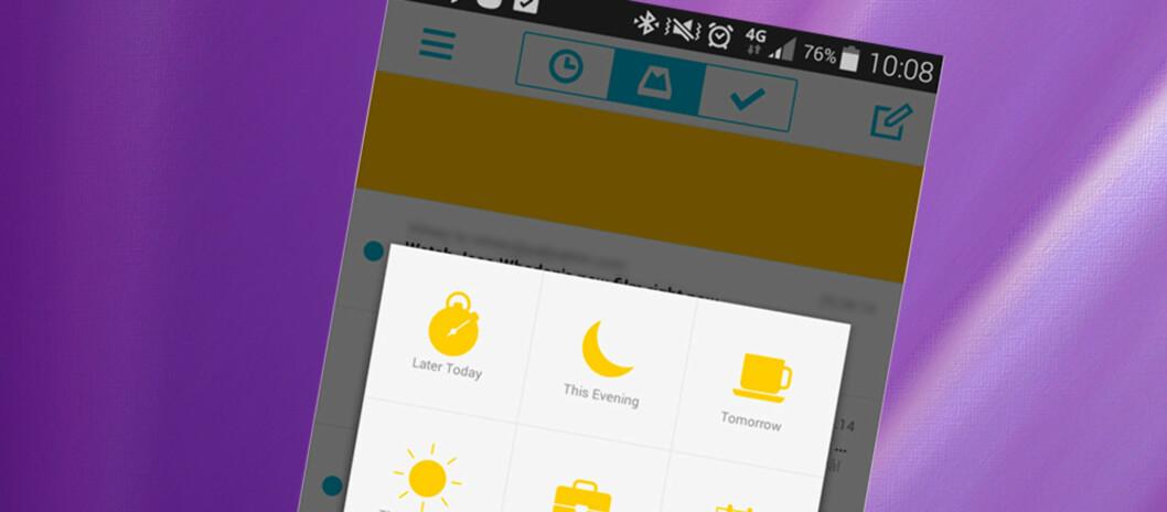 <strong><strong>SLUMRE:</strong></strong> Med Mailbox kan du slumre en epost slik at den dukker opp på toppen senere.