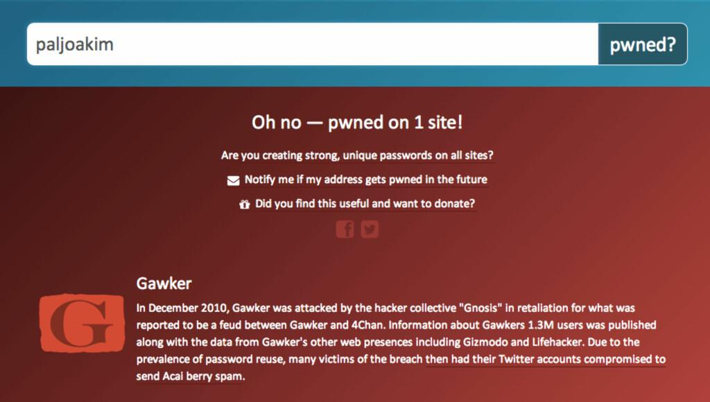 Selv ikke undertegnede har sluppet unna –heldigvis er det kun på det aktuelle nettstedet jeg har brukt dette passordet.