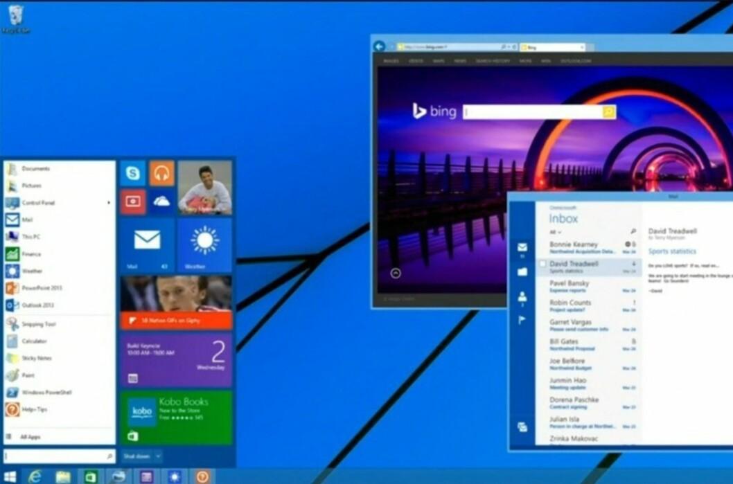 Slik vil den altså se ut, startmenyen i Windows 8.1. Men den kommer ikke før i <i>neste</i> oppdatering av operativsystemet. Men allerede 8. april kommer endringer som vil glede brukere av tastatur og mus. Foto: Microsoft