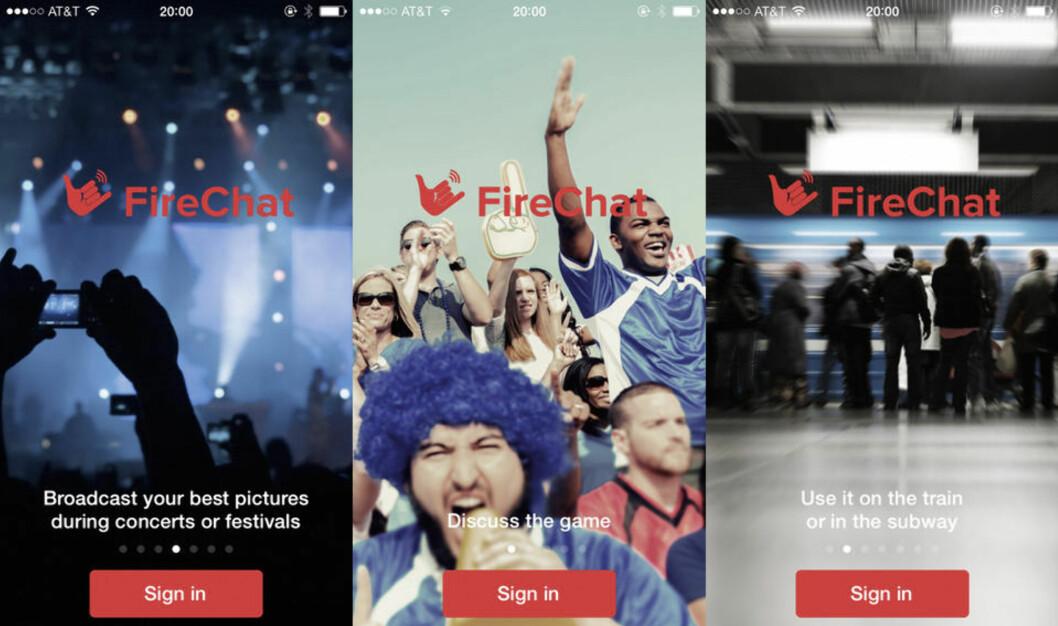FireChat - meldinger uten nettilgang