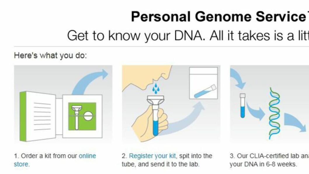 <strong><b>SPYTTER I BØSSA:</strong> </b>23andMes kunder sender inn en spyttprøve, og får sin DNA-profil tilbake for 99 dollar.  Foto: 23andMe