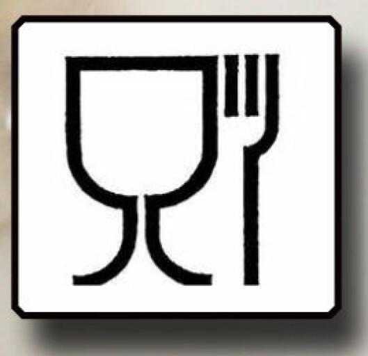 Glass- og gaffelsymbol = Egnet for mat og drikke. Foto: Colourbox.com