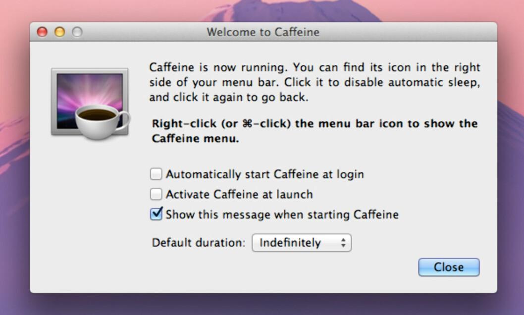 <strong>CAFFEINE:</strong> Gjør at Mac-en din holder seg våken så lenge som mulig. Foto: KIRSTI ØSTVANG