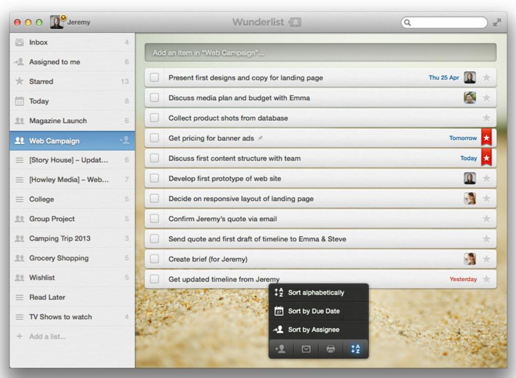 <strong>WUNDERLIST:</strong> Er ikke den mest avanserte gjøremålsappen som finnes til Mac, men den er enkel å bruke og pen.