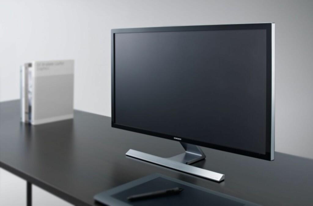Denne Samsung-skjermen har fire ganger høyere oppløsning enn full HD, og koster under 6.000 kroner. Men det er ikke sikkert at den rimeligste er det smarteste valget, avhengig av hva du skal bruke skjermen til. Foto: Sasung