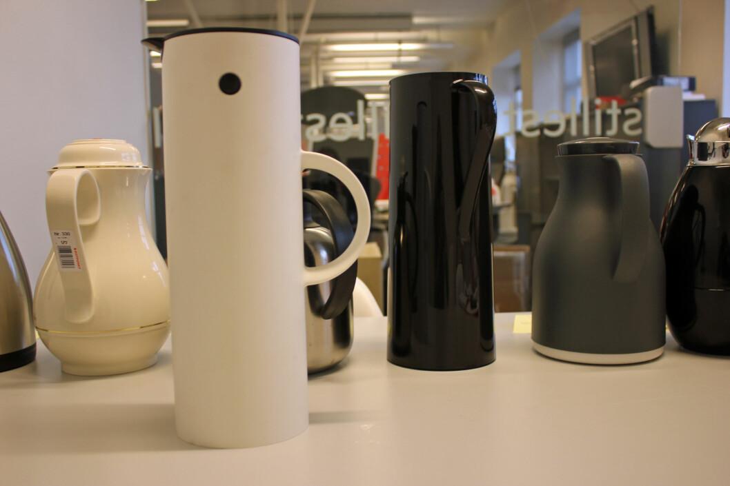 <strong><b>TERMOKANNER:</strong></b> Designkanner er pene å se på, men holder de kaffen varm? Foto: BERIT B. NJARGA