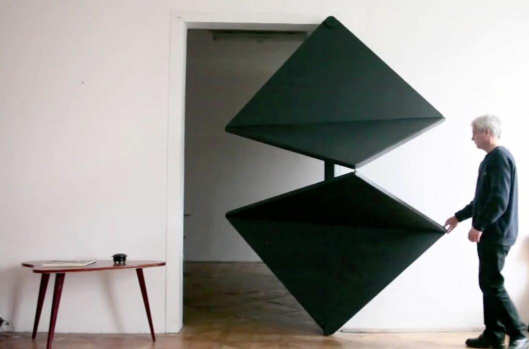 """<strong><B>I AKSJON:</strong></B> En østerriksk kunstner står bak """"Evolution Door"""" (""""evolusjonsdøra""""), men vi er foreløpig usikre på om den vil egne seg i hjemmet til folk flest. Foto: Skjermdump fra video"""