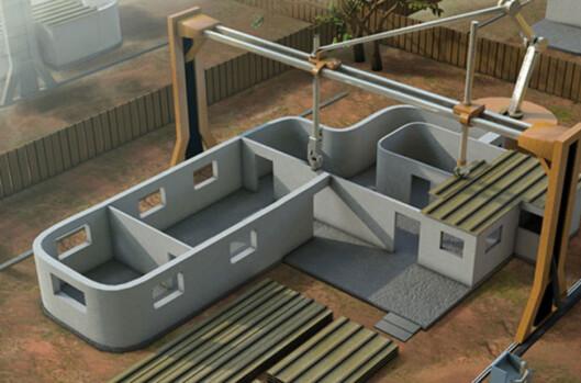 3D-printe egen bolig? Om få år kan det bli en realitet. Foto: Contour Crafting