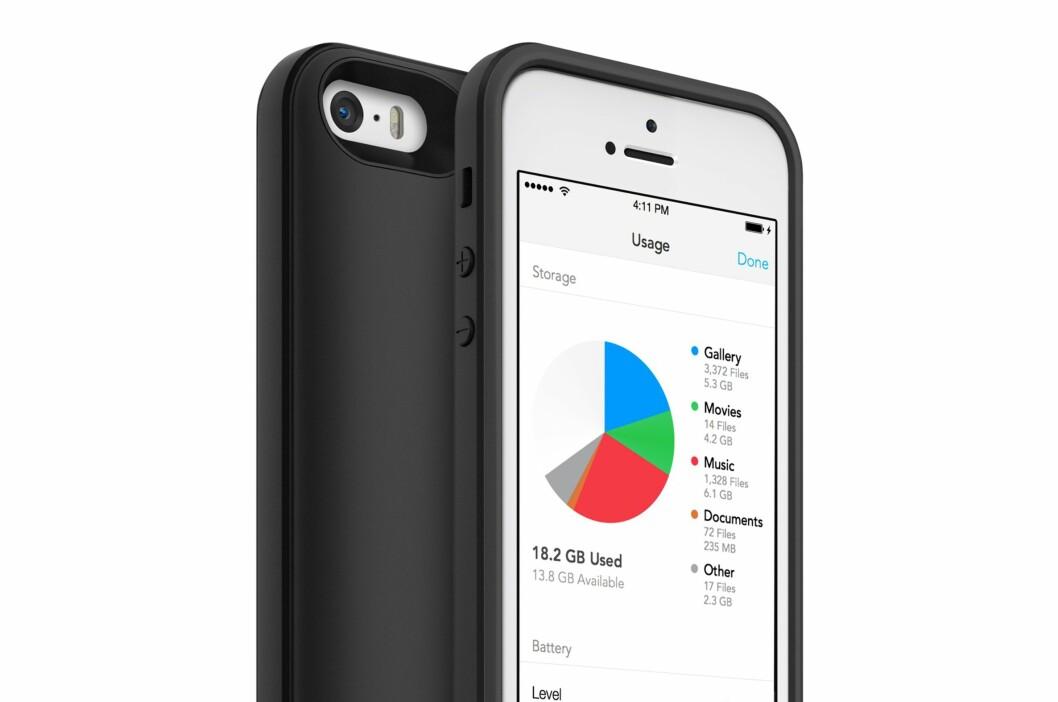 <strong>EN SLAGS MINNEBRIKKE:</strong> Dekselet Space Pack gir opptil 32 GB ekstra lagringsplass til iPhone 5/5S. Foto: MOPHIE.COM
