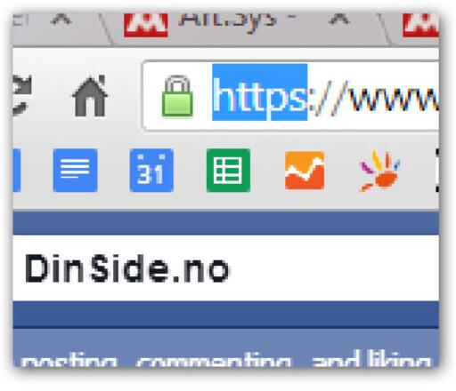 """SIKKERT: Må du gjennom en kryptert innlogging ser du """"https"""" i nettadressen, og en hengelås i nettleseren.  Foto: OLE PETTER BAUGERØD STOKKE"""