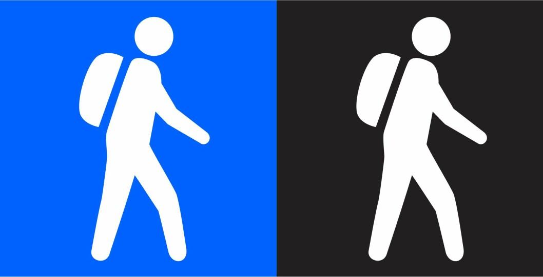 <strong>Den viktige forskjellen:</strong> Dette bør du legge merke til når du skal velge rute, det er ingen spøk å havne i for krevende terreng. For ordens skyld: Den blå er for nybegynneren, mens den sorte for eksperten. Foto: DNT/MERKEHÅNDBOKA