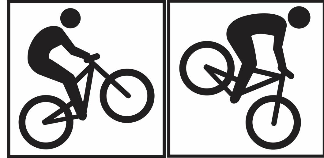 <strong>Legg også merke til denne forskjellen:</strong> Symbolet til venstre viser vei til terrengsykling, mens det til høyre viser vei til utforsykling. Foto: DNT/MERKEHÅNDBOKA