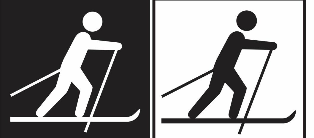 <strong><b>DEN VIKTIGE FORSKJELLEN:</strong></b> Symbolet til venstre viser merking av skiløype med graderingen SORT, altså med vanskelighetsgrad EKSPERT. Symbolet til høyre viser ganske enkelt til en skiløype som ikke er gradert, altså ikke kjent vanskelighetsgrad. Foto: DNT/MERKEHÅNDBOKA