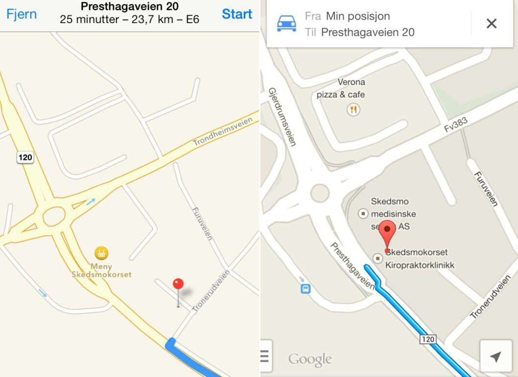 Apple Maps til venstre, Google Maps til høyre.