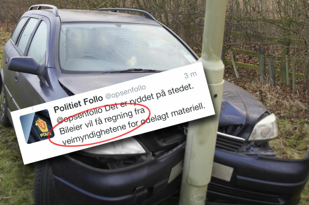 <strong><b>REGNING KOMMER:</strong></b> Uheldig? Du må betale for mer enn kun skadene på din egen bil. Det er også ditt ansvar å betale for ødeleggelser på vegvesenets materiell. Foto: PANTHERMEDIA/TWITTER/KRISTIN SØRDAL