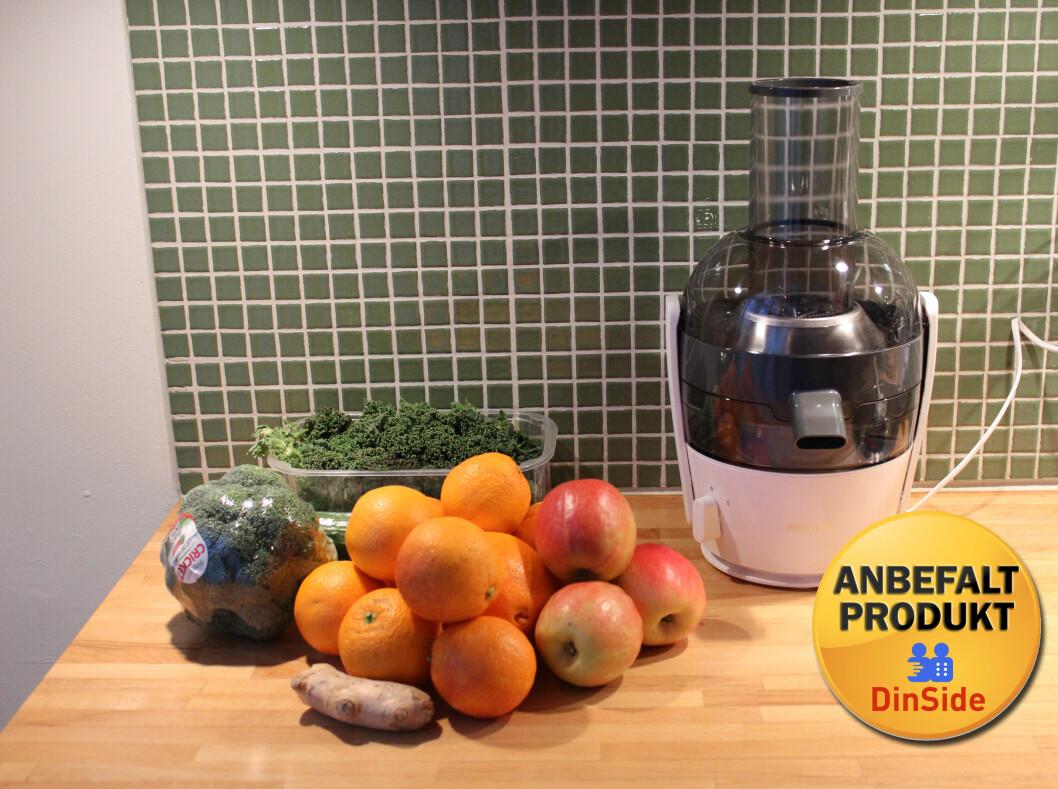 Enkel og effektiv til en rimelig penge. Vi kan trygt anbefale Philips Viva-juicer. Foto: Elisabeth Dalseg