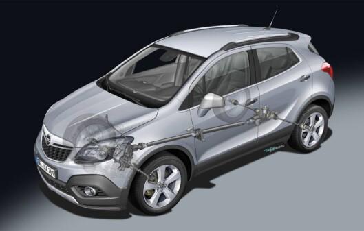 """""""Cutaway"""" av Opel Mokka som viser bilens 4x4-system. Foto: Opel"""