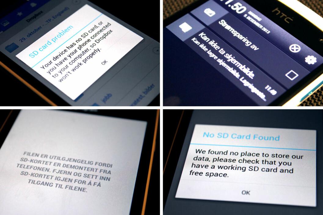 """<strong>LATTERLIG:</strong> Minnet på HTC Desire 500 er så lite at det er en rekke apper og funksjoner som begynner å protestere. """"Ingen SD-kort"""" er det som går igjen om du ikke kjøper et selv.  Foto: Ole Petter Baugerød Stokke"""
